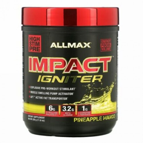 ALLMAX Nutrition, インパクト・イグナイター、プレワークアウト、パイナップルマンゴー、11.6 oz (328 g)