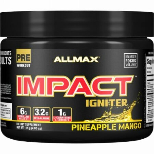 ALLMAX Nutrition, Impact Igniter Pre-Workout, Pineapple Mango, 4.05 oz (115 g) (Discontinued Item)
