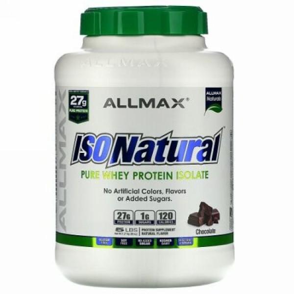 ALLMAX Nutrition, アイソナチュラル、100%ウルトラピュアホエイタンパク質アイソレート、チョコレート、約2.27kg(5 lbs)