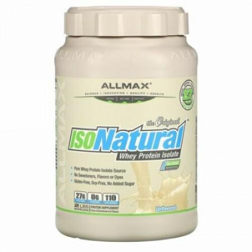 ALLMAX Nutrition, アイソナチュラル、 ピュアホエイタンパク質アイソレート、 オリジナル、 無香料、 2 lbs (907 g)