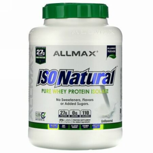 ALLMAX Nutrition, IsoNatural, 100% Ultra-Pure Natural Whey Protein Isolate, Unflavored, 5 lbs (2.25 kg)
