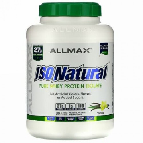 ALLMAX Nutrition, アイソナチュラル, 100% ウルトラピュア天然ホエイタンパク質アイソレート(WPI90), バニラ, 5 lbs (2.27 kg)