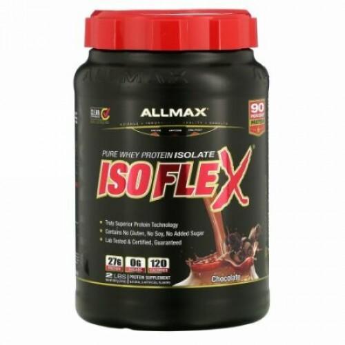 ALLMAX Nutrition, イソフレックス 純粋ホエイタンパク質単離物(WPIイオン充電粒子濾過)、チョコレート、907g