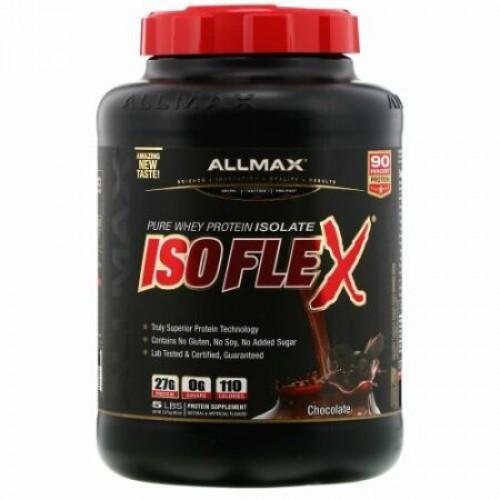 ALLMAX Nutrition, アイソフレックス、高純度ホエイタンパク質分離物(イオン荷電粒子ろ過ホエイタンパク質分離物)、チョコレート、2.27kg(5ポンド)
