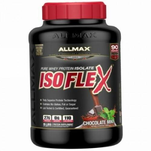 ALLMAX Nutrition, イソフレックス、ホエイタンパク質アイソレート(WPIイオン充電粒子濾過)、チョコレート、5ポンド (2.27 kg)