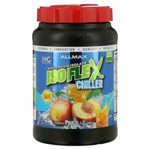 ALLMAX Nutrition, アイソフレックス・チラー、100% ウルトラピュア・ホエイタンパク質アイソレート (WPI イオン荷電粒子ろ過)、シトラスピーチセンセーション、2 ポンド (907 g)