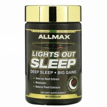 ALLMAX Nutrition, ライツアウトスリープ、 メラトニン+GABA+セイヨウカノコソウ根、ビーガンカプセル60粒