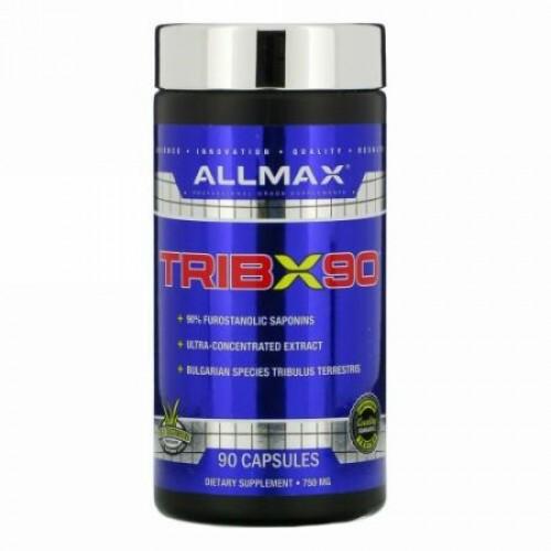 ALLMAX Nutrition, TribX90(トリブX90)、超濃縮ブルガリアトリビュラス、フロスタノールサポニン90%、750 mg、90粒