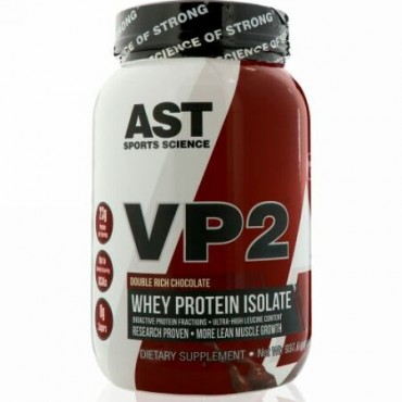 AST Sports Science, VP2, 分離ホエイタンパク質(分離ホエイタンパク質), ダブルリッチチョコレート, 2ポンド(960 g) (Discontinued Item)
