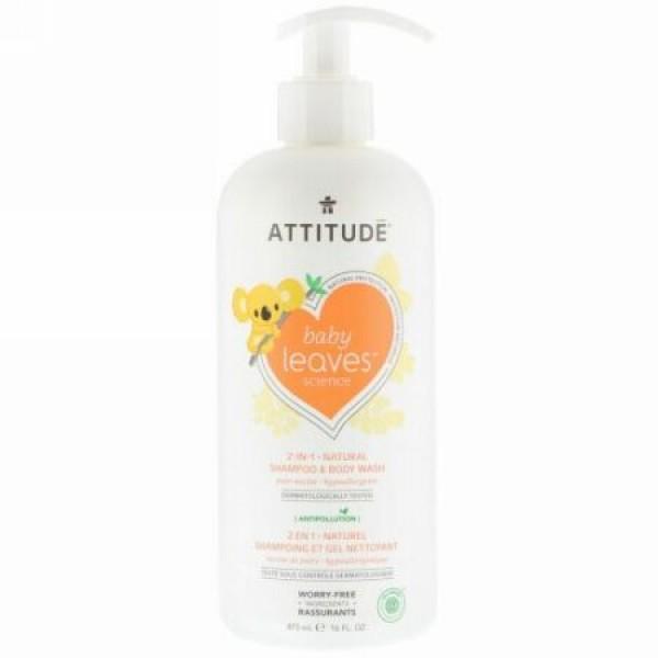 ATTITUDE, Baby Leavesサイエンス、2イン1ナチュラルシャンプー & ボディウォッシュ、ナシネクター、16液量オンス (473 ml)