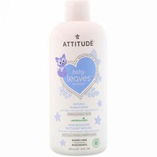 ATTITUDE, Baby Leaves Science、ナチュラルバブルウォッシュ、おやすみなさい / アーモンドミルク、16 fl oz (473 ml) (Discontinued Item)