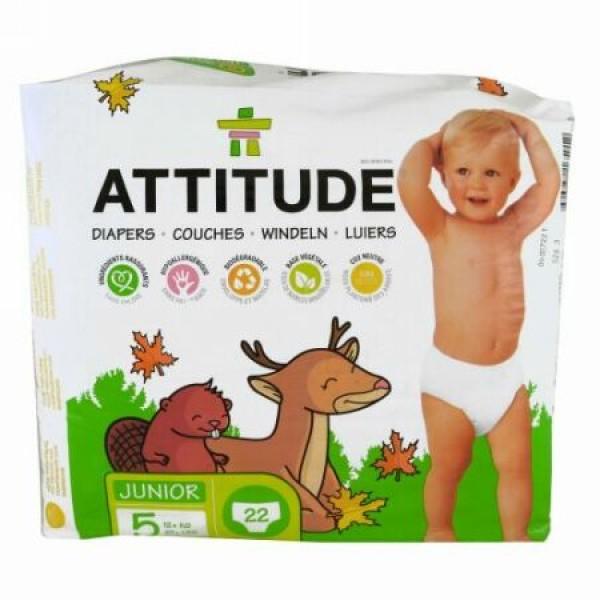 ATTITUDE, 環境に優しいおむつ、ジュニア、サイズ 5、27+ lbs (12+ kg)、オムツ 22 個 (Discontinued Item)