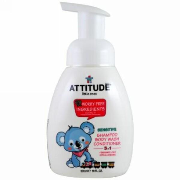 ATTITUDE, リトルワンズ、 3 イン 1シャンプー、ボディーウォッシュ、 コンディショナー、 無香料、 10液量オンス (300 ml) (Discontinued Item)