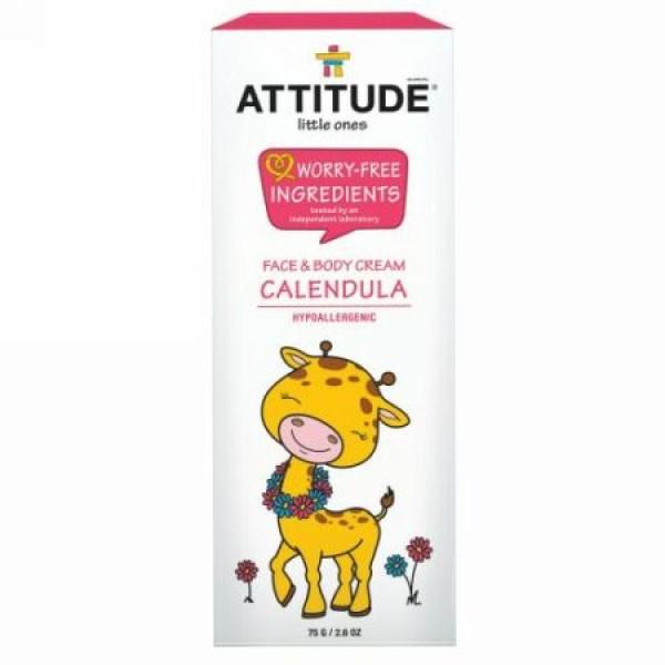 ATTITUDE, リトルワンズ、カレンデュラ フェイス & ボディー クリーム、2.6 oz (75 g) (Discontinued Item)