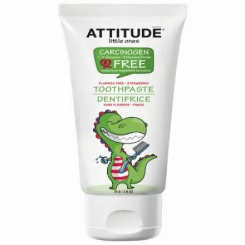 ATTITUDE, リトルワンズ、歯磨き粉、フッ化物不使用、ストロベリー、2.6 oz (75 g) (Discontinued Item)