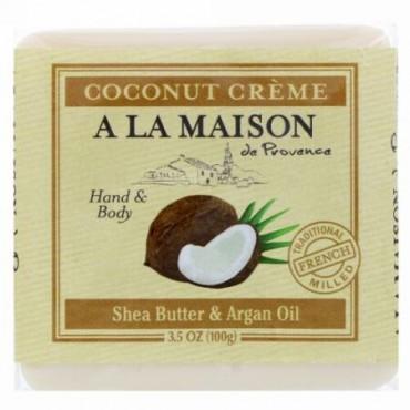 A La Maison de Provence, ハンド&ボディ・バーソープ(固形石けん)、ココナッツクリーム、3.5オンス (100 g) (Discontinued Item)