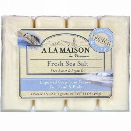 A La Maison de Provence, ハンド& ボディバー ソープ、 フレッシュシーソルト、 4バー、 各3.5 oz