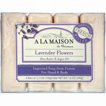 A La Maison de Provence, ハンド&ボディバーソープ、ラベンダーフラワー、4本、各100 g(3.5 oz)