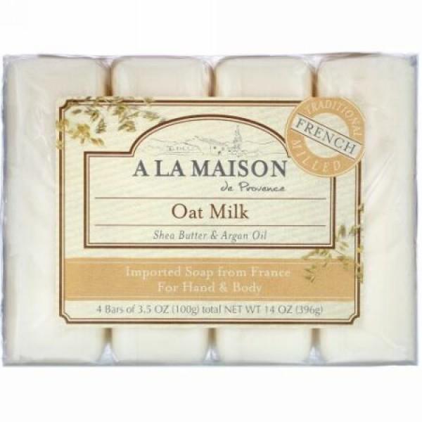 A La Maison de Provence, ハンド & ボディ バーソープ、オーツ ミルク、4バー、各3.5オンス(100 g)