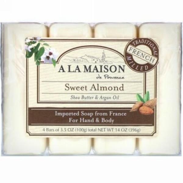 A La Maison de Provence, ハンド& ボディバー ソープ、 スイートアーモンド、 4バー、 各3.5 oz