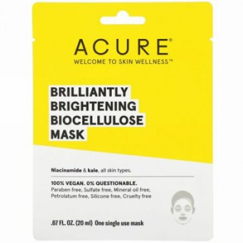 Acure, Brilliantly Brightening, Biocellulose Mask, 1 Single Use Mask, .67 fl oz (20 ml) (Discontinued Item)