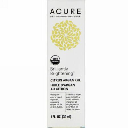 Acure, Brilliantly Brightening, Citrus Argan Oil, 1 fl oz (30 ml) (Discontinued Item)