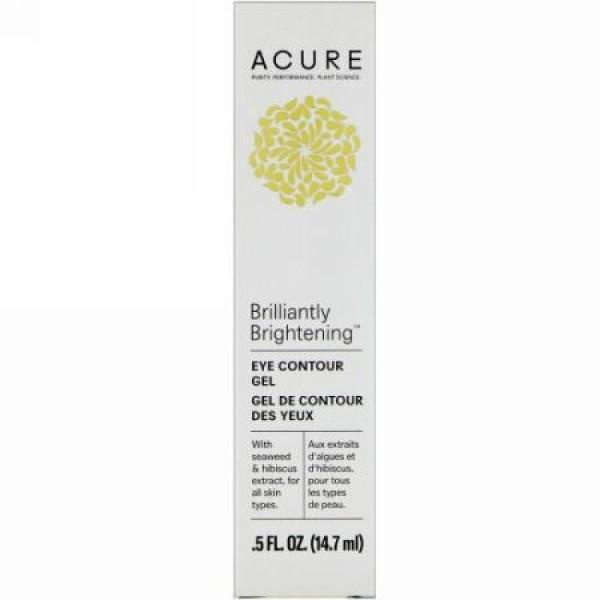 Acure, Brilliantly Brightening, Eye Contour Gel, .5 fl oz (14.7 ml) (Discontinued Item)