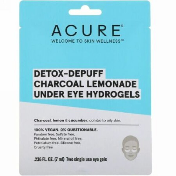 Acure, デトックス-デパフ、炭レモネード目の下用ハイドロゲル、アイジェル2回分、0.236 fl oz (7 ml) (Discontinued Item)
