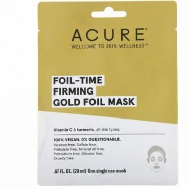 Acure, フォイルタイムの肌を引き締めるゴールドフォイルマスク、使い捨てマスク1枚、0.67 fl oz (20 ml) (Discontinued Item)