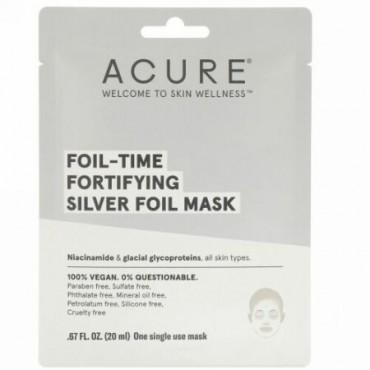 Acure, フォイルタイムの肌を強化するシルバーフォイルマスク、使い捨てマスク1枚、0.67 fl oz (20 ml) (Discontinued Item)