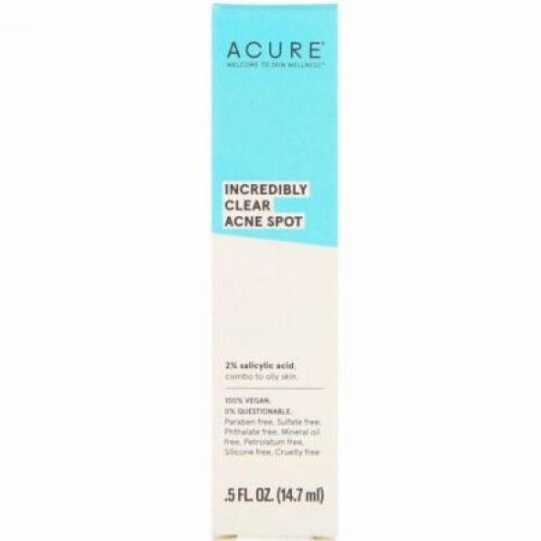 Acure, インクレディブリークリア、ニキビ、.5 fl oz (14.7 ml) (Discontinued Item)