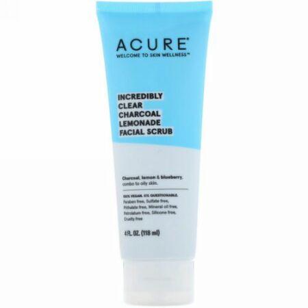 Acure, すごくクリアな炭レモネードフェイシャルスクラブ、4 fl oz (118 ml)