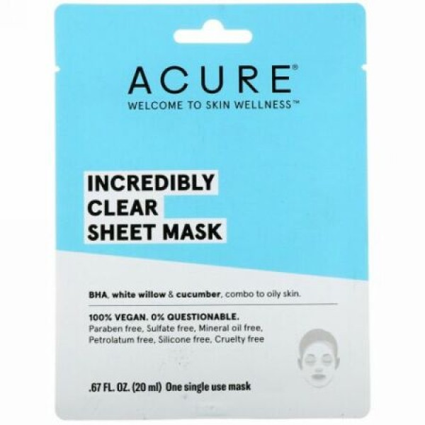 Acure, Incredibly Clear Sheet Mask, 1 Single Use Mask, 0.67 fl oz (20 ml) (Discontinued Item)