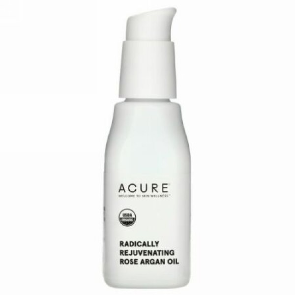 Acure, ツヤのあるお肌にするローズアルガン油、30 ml(1 fl oz)