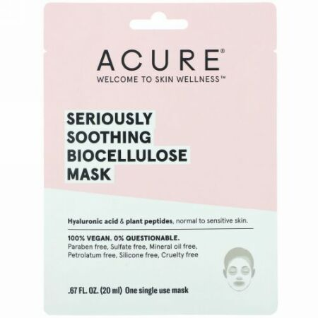 Acure, Seriously Soothing, Biocellulose Mask, 1 Single Use Mask, .67 fl oz (20 ml) (Discontinued Item)