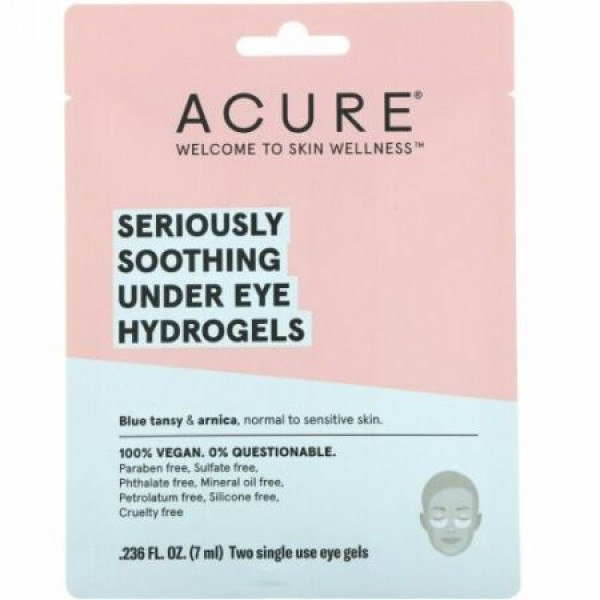 Acure, Seriously Soothing Under Eye Hydrogels, 2 Single Use Eye Gels, 0.236 fl oz (7 ml) (Discontinued Item)