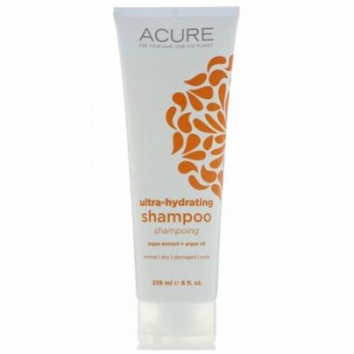 Acure, Ultra-Hydrating Shampoo, Argan Extract + Argan Oil, 8 fl oz (236 ml) (Discontinued Item)