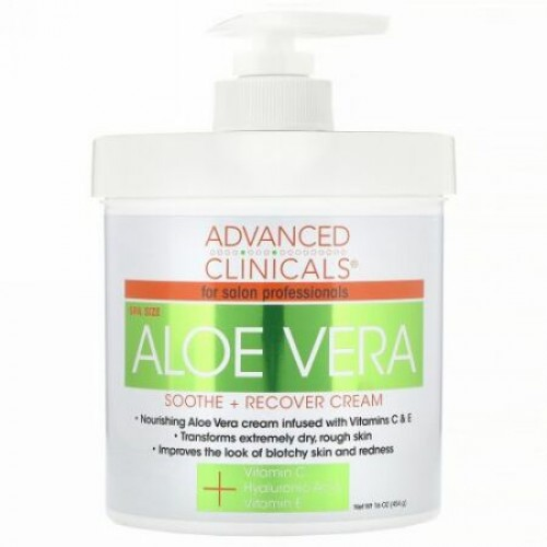 Advanced Clinicals, Aloe Vera, Soothe + Recover Cream, 16 oz (454 g) (Discontinued Item)