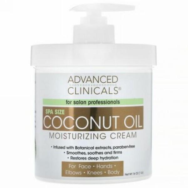 Advanced Clinicals, ココナッツオイル・モイスチャライジングクリーム、16 oz (454 g)