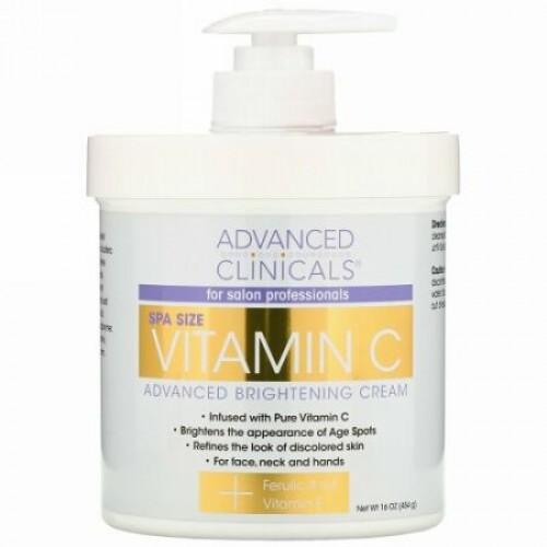 Advanced Clinicals, Vitamin C Advanced Brightening Cream, 16 oz (454 g)