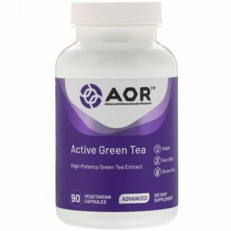 Advanced Orthomolecular Research AOR, アクティブグリーンティー、植物性カプセル90粒