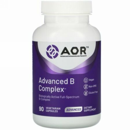 Advanced Orthomolecular Research AOR, アドバンストBコンプレックス、植物性カプセル90粒