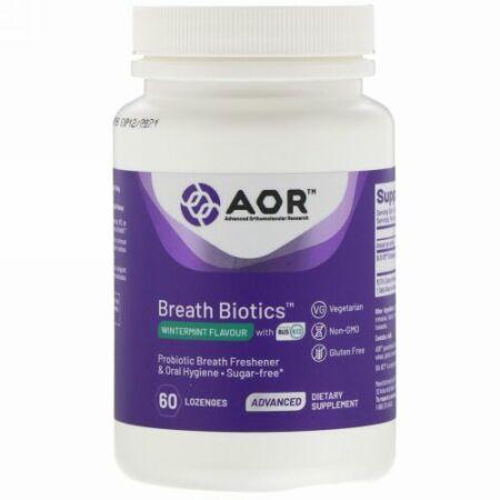 Advanced Orthomolecular Research AOR, Breath Biotics(ブレスバイオティクス)、ブリスK12配合ウィンターミントの香り、60粒
