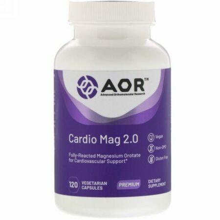 Advanced Orthomolecular Research AOR, カーディオマグ2.0、植物性カプセル120粒