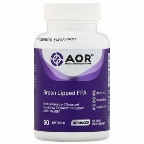 Advanced Orthomolecular Research AOR, グリーンリップFFA、60ソフトジェル