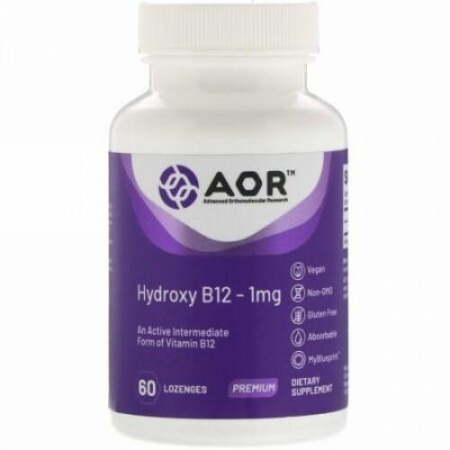 Advanced Orthomolecular Research AOR, ヒドロキシルB12、1mg、トローチ60粒