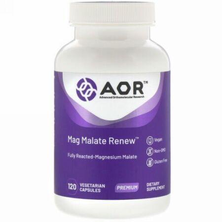 Advanced Orthomolecular Research AOR, Mag Malate Renew(マグマレートリニュー)、植物性カプセル120粒