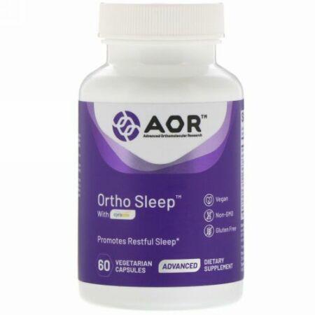 Advanced Orthomolecular Research AOR, Ortho Sleep(オルトスリープ)、シラコス配合、植物性カプセル60粒