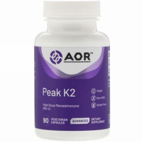 Advanced Orthomolecular Research AOR, ピークK2、植物性カプセル90粒