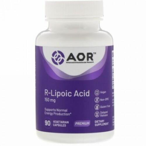 Advanced Orthomolecular Research AOR, R-リポ酸、150mg、植物性カプセル90粒